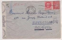 LETTRE ENTIERE DE 1942 - ANGERS POUR BRUXELLES BELGIQUE - CENSURE ALLEMANDE - AFFRANCHISSEMENT PETAIN - VOIR LES SCANS - Lettres & Documents