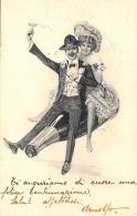 [DC11460] CPA - COPPIA CHE BRINDA A CAVALLO DI UNA BOTTIGLIA GIGANTE - Viaggiata 1903 - Old Postcard - Coppie