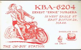 Moto Motorbike Motocycliste Biker On Very Old QSL From Ernest Morgera, West Eagle St. East Boston Mass (KBA 6204) 8/1967 - CB