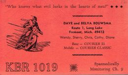 Moto Motorbike Motocycliste Biker On Very Old QSL From DSave Bouwsma, Route 1, Long Lake Fremont Mich (KBR 1019) 8/1970 - CB