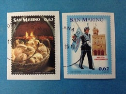 2005 SAN MARINO FRANCOBOLLI USATI TWO STAMPS USED - EUROPA GASTRONOMIA 0,62 + MILIZIA UNIFORMATA 0,62 - Usati