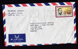 Belize: Airmail Cover To Netherlands, 1992, 1 Stamp, Independence (minor Creases) - Belize (1973-...)