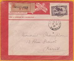 8 Septembre 1923 - Maroc Précurseur Avion - Lettre Recommandée De Casablanca Vers Paris Par Lignes Aériennes Latécoère - Morocco (1891-1956)