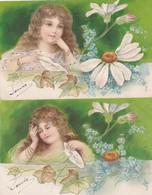 ¤¤  - Lot De 4 Cartes Fantaisies Gauffrées  -  Fleurs , Marguerite  - Fillette  -  ¤¤ - Fleurs
