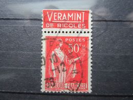 """VEND BEAU TIMBRE DE FRANCE N° 283 , TYPE IV + BANDE PUBLICITAIRE """" RICQLES VERAMINT """" !!! (b) - Publicités"""