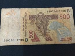 W.A.S. BENIN P219Bc 500 Francs (20)14 F-VF No Tear,no P.h. - Benin