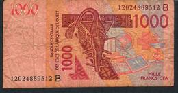 W.A.S. BENIN P215Bl 1000 Francs (20)12 F-VF No Tear,no P.h. - Benin