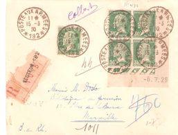 30c.Pasteur Bloc De 4 Coin Daté + 1 Oblitéré POSTE AUX ARMEES *192* Sur Lettre Recommandée - Postmark Collection (Covers)