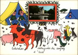 44 - ISSE - Carte Avec Petite Vue - Chateau - Illustrée Par Jean De Preissac - Camping - France