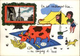 44 - ISSE - Carte Avec Petite Vue - Chateau - Illustrée Par Jean De Preissac - Camping - Vache - France