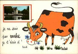 44 - ISSE - Carte Avec Petite Vue - Chateau - Illustrée Par Jean De Preissac - Vache - France