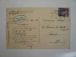 CACHET MANUEL BLEU DE GARE DE PARIS-IVRY CP CHEMIN DE FER DE PARIS A ORLEANS 02-10-1928 TAXE EXPEDITION COSTUMES BRETONS - Marcofilie (Brieven)
