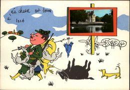 44 - ISSE - Carte Avec Petite Vue - Chateau - Illustrée Par Jean De Preissac - Chasseur - France