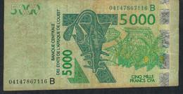 W.A.S. BENIN P217Bb 5000 Francs (20)04 F-VF No Tear,no P.h. - Benin