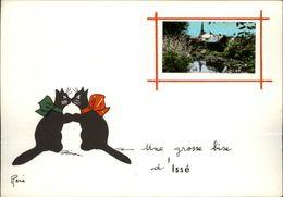 44 - ISSE - Carte Avec Petite Vue - Illustrée Par René - Chat Noir - France