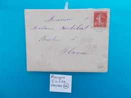 BASSES ALPES.ENVELOPPE AVEC LETTRE.CACHET ROUGON.TIMBRE SEMEUSE.1908. - 1877-1920: Semi Modern Period
