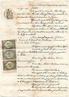 DUBUC HUISSIER A LA TESTE 1866  3 TIMBRES DE DIMENSION FRANCE COPIE 1 GUJAN ARCACHON - Seals Of Generality