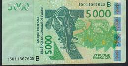 W.A.S. BENIN P217Bo 5000 Francs (20)15 VF No Tear,no P.h. - Benin
