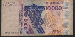 W.A.S. BENIN P218Bl 10000 Francs (20)12 F-VF No Tear,no P.h. - Benin