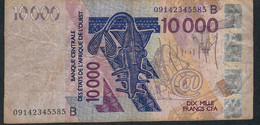W.A.S. BENIN P218Bh 10000 Francs (20)09 F-VF No Tear,no P.h. - Bénin