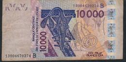 W.A.S. BENIN P218Bm 10000 Francs (20)13 F-VF No Tear,no P.h. - Benin