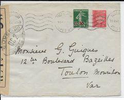1941 - ENVELOPPE Avec CENSURE De NICE => TOULON - Marcophilie (Lettres)