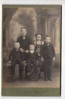 Cabinet Photo Portrait En Pied D'une Fratrie De 5 Enfants Dont Fillette En Costume , J. Lozach Landerneau Bretagne - Photos