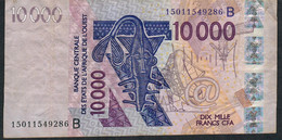 W.A.S. BENIN P218Bo 10000 Francs (20)15 AVF No Tear,no P.h. - Bénin