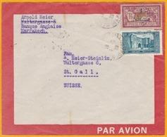 1929 - Maroc, France - Lettre Latécoère De Marrakech Medina Vers St Gall, Suisse   - Via Casablanca - Affrt  2f50 Merson - Morocco (1891-1956)