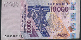 W.A.S. BENIN P218Bo 10000 Francs (20)15 VF No Tear,no P.h. - Benin