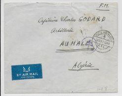 1944 - FORCES FRANCAISES LIBRES - ENVELOPPE FM Par AVION Des FFL Avec CENSURE => AUMALE (ALGERIE) - Marcophilie (Lettres)