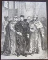 Rare Gravure D'Eugène Delacroix En 1834 - Epreuve D'Essai - Hamlet (la Reine S'efforce De Consoler Hamlet) - Estampes & Gravures