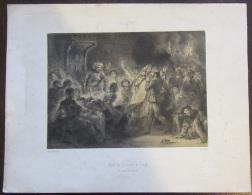 """Rare Lithographie De Mouilleron De L'esquisse D'Eugène Delacroix """"Mort De L'Evêque De Liège (Quentin Durward) 1827 - Lithographies"""