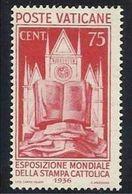 1936 Vaticano Vatican STAMPA CATTOLICA  CATHOLIC PRESS 75c Carminio MLH* - Unused Stamps