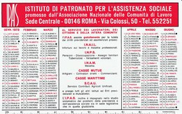 CALENDARIO TASCABILE - I.P.A.S. - Puglie/Basilicata - Anno 1973 - Kalender