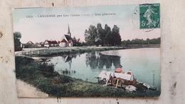 45 - CPA Animée, Laveuse, Lavoir - LANGESSE Par Les Choux (Loiret) - Vue Générale - Otros Municipios