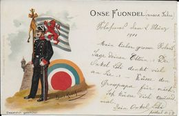 Cpa Soldat Drapeau DE Llois Kûchmann D'ONSE FUONDEL 1901 écrite Voyagée Voir Dos Avec écriture CODE ? 1901vor Dos - Autres