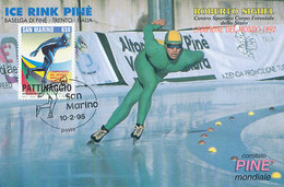 D32614 CARTE MAXIMUM CARD TRIPLE 1995 SAN MARINO - SPEED SKATING ROBERTO SIGHEL CP ORIGINAL - Winter (Other)