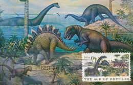 D32624 CARTE MAXIMUM CARD FD 1970 USA - PREHISTORIC DINOSAURS CP ORIGINAL - Stamps