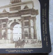 FOTOGRAFIA STEREOSCOPICA TRIUMPHAL ARCH MOSCOW RUSSIA ANNO 1902 - Stereoscopi