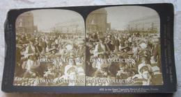 FOTOGRAFIA STEREOSCOPICA GREAT VEGETABLE MARKET OF MOSCOW RUSSIA ANNO 1902 - Stereoscopi