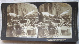FOTOGRAFIA STEREOSCOPICA MARKET SCENE IN CONSTANTINOPLE TURCHIA TURKEY ANNO 1901 - Stereoscopi