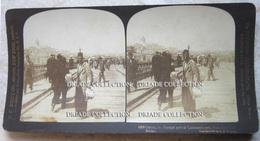 FOTOGRAFIA STEREOSCOPICA GALATA FOREIGN PART OF CONSTANTINOPLE FROM THE OUTER BRIDGE TURCHIA TURKEY ANNO 1901 - Stereoscopi