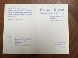 Liste De Prix Brasserie Brouwerij ST Josef Herent Bière Gueuze Forst Wiels Scoth ... Tafel Bieren Water Limonaden - Alimentaire