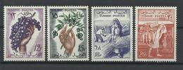 TUNISIE - N°YT 428/31 NEUFS** LUXES SANS CHARNIERE - COTE YT : 4€ - 1956/57 - Tunisie (1956-...)