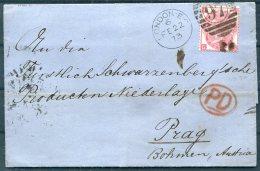 1873 GB QV 3d Rose (Plate 9) London EC - Prague, Prag, Praha - Storia Postale
