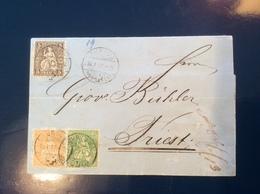 ZURICH 1877 Brief Mit 3-FARBEN Sitzende Helvetia > TRIEST, Österreich (Schweiz Suisse Lettre Cover Brief - 1862-1881 Sitzende Helvetia (gezähnt)