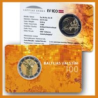 Latvia 2018 - 2 EURO CC Coincard (BU) - 100 Year Baltic States - Lettonie