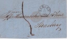 NORVEGE 1869 LETTRE DE BERGEN POUR STRASBOURG - Norwegen