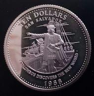 "BAHAMAS 10 DOLLARS 1988 SILVER PROOF ""Columbus Discovering America"" (free Shipping Via Registered Air Mail) - Bahamas"